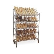 Tote Storage Cart with slanted dispenser racks