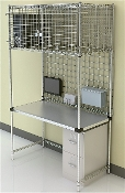 Manager Work Station with Security Overhead Storage