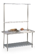 Work Table with Overhead and Bottom Shelf. Shown with Utility Rack and Cantilever Shelf sold separately.