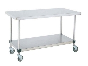 "Mobile Work Table - 30"" (760mm) Wide, SS w/Bottom Shelf"