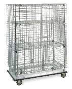 Metro Heavy-Duty qwikSLOT Mobile Security Storage Unit - Chrome (shown with Super Adjustable shelves, qwikSLOT version similar, intermediate shelves are additional)