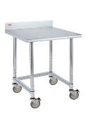 Metro Mobile Lab Table w/Stainless Top and Backsplash