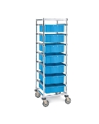 "Kitting Carts - Adjustable Single Bay Image shown with optional ""Extra Slides"" and Metro Divider Tote Boxes."