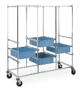 Kitting Carts - Triple Bay Shown with optional Metro Divider Tote Boxes.