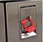 Retrofit case cart door latch w/security hasp.