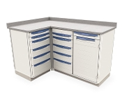 3 Bay Corner Cabinet with Drawers and Shelf Storage