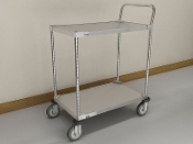 MWS 100 Series Standard Duty Utility Cart, Galvanized 2-Shelf