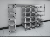 Double-Deep Top-Track Super Erecta with solid galvanized shelves.