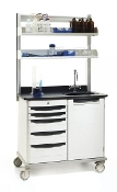 Metro Starsys Double-Wide Unit with Overhead Shelves, sink and faucet.