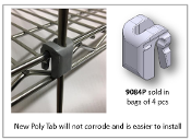 Polymer Tabs for Wire Shelves